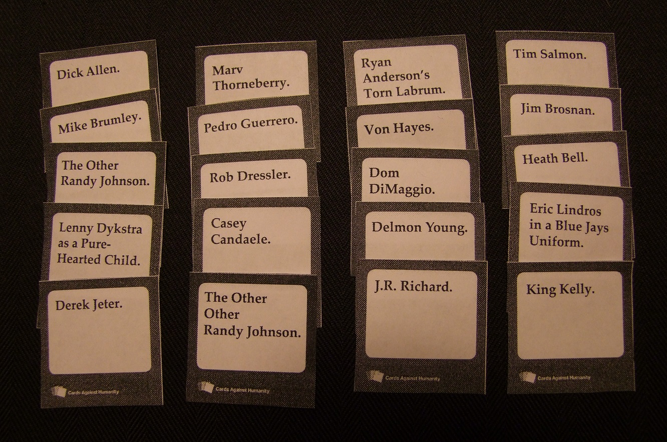 Cards Against Humanity Make Your Own Ideas Part - 15: ... To Apples To Apples: One Player, The U201cjudgeu201d, Flips Over A Card With  The Name Of A Baseball Player. The Rest Of The Table Looks Through Their Own  Cards ...