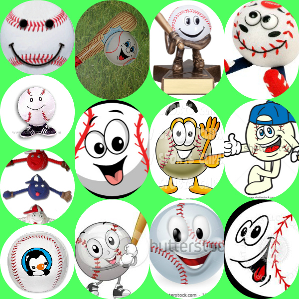 This is a collage of smiling baseballs