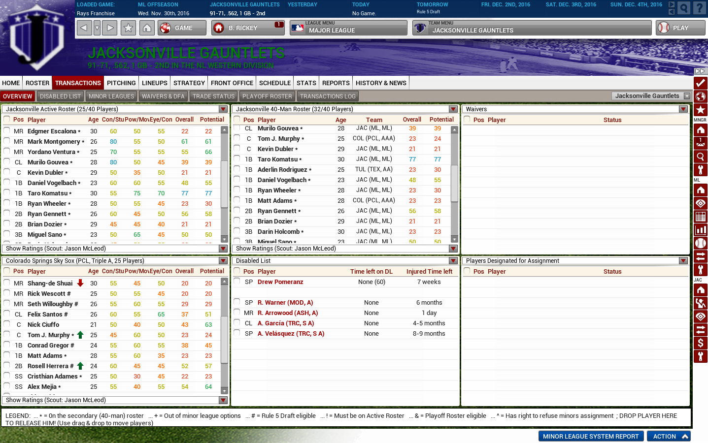 OOTP transactions